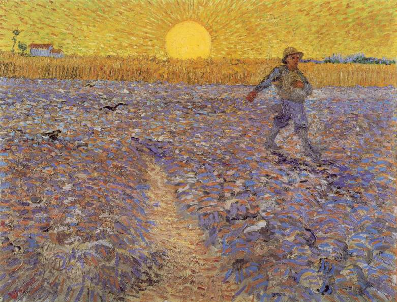 Sower with Setting Sun, Van Gogh,, Vincent Van Gogh, 1888